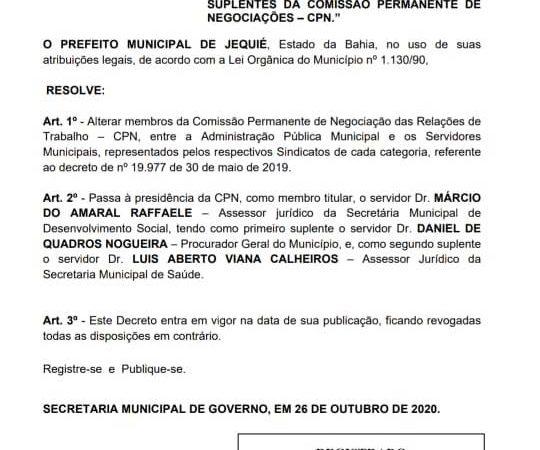 Prefeitura publica decreto sobre a reestruturação da CPN após solicitação da APLB