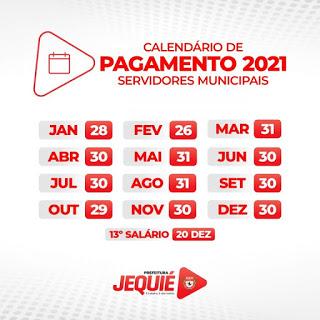 Prefeitura de Jequié divulga calendário de pagamento para os Servidores no ano de 2021