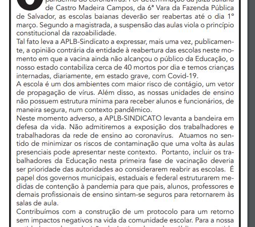 """APLB divulga nota pública no Jornal A Tarde: """"Aulas presenciais sem a imunização dos profissionais da Educação é genocídio!"""""""