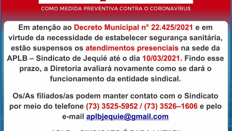 COMUNICADO DA APLB SINDICATO DE JEQUIÉ