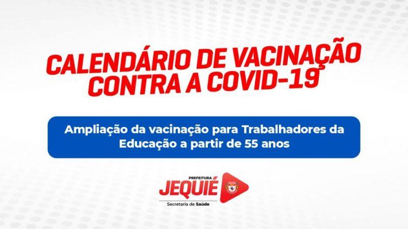 Trabalhadores da Educação de Jequié com idade de 55 anos ou mais serão vacinados a partir desta quarta-feira