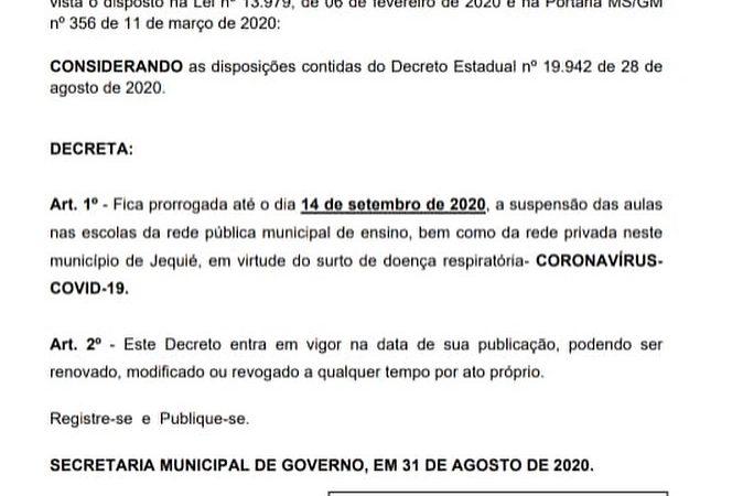 Publicado Decreto que prorroga a suspensão das aulas no Município de Jequié. Confira:
