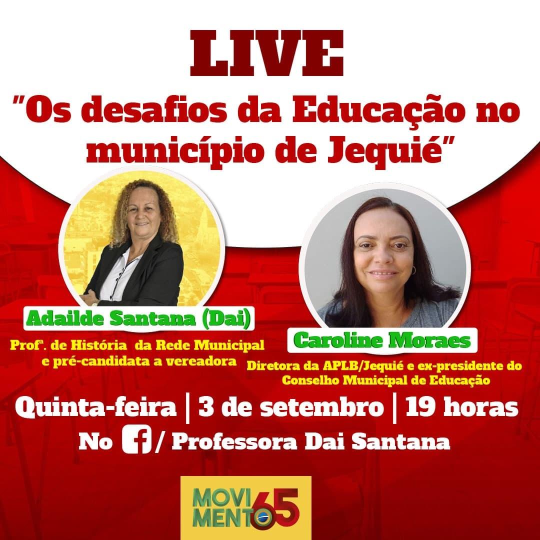 """APLB PARTICIPA DA LIVE: """"OS DESAFIOS DA EDUCAÇÃO NO MUNICÍPIO DE JEQUIÉ"""". ACOMPANHE:"""