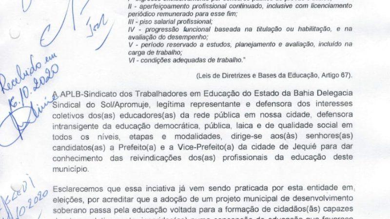 CONFIRA A CARTA COMPROMISSO ENTREGUE AOS PREFEITURÁVEIS 2020 DA CIDADE DE JEQUIÉ DURANTE ENCONTRO DA EDUCAÇÃO ORGANIZADO PELA APLB SINDICATO