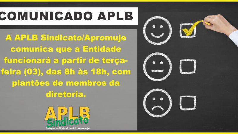 COMUNICADO DE FUNCIONAMENTO APLB